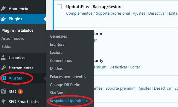 Una vez instalado vamos a Ajustes -> Respaldos UpdraftPlus