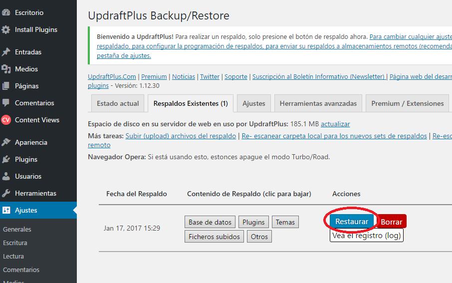 Y listo, ya disponemos de un backup para aplicar cuando necesitemos. Ahora podemos actualizar tranquilos nuestro WordPress (aunque se rompa y se pierda el acceso el backup seguirá disponible para aplicar luego de una reinstalación, respetando versiones y entornos anteriores)