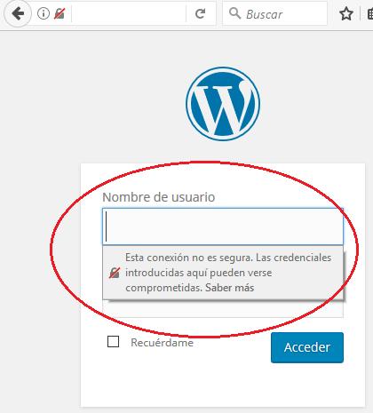 Advertencia de conexión no segura del navegador Firefox 52