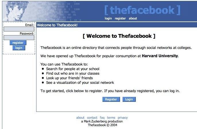Página de entrada a Facebook en el 2004