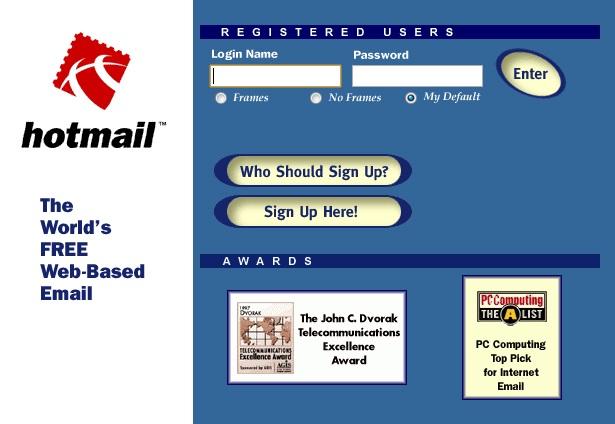 Página de entrada al servicio de hotmail en 1997