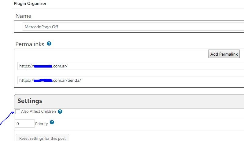 Generas un filtro general donde dejas desactivado el plugin pero sin afectar a las  URLs hijas (Also affect children).